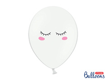 """Smiley Eyelashes Pastel White 12"""" Latex Balloons 6pk"""