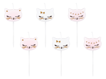 Meow Party Cat Shaped Cake Candles 6pk
