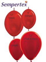 Sempertex Metallic Red Latex Balloons
