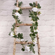 White Rose And Leaves Garland 175cm