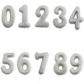 Silver Glitter Moulded Pick Number 0-9 Candles 7cm