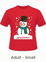 Adult Merry Christmas Snowman T-Shirt - Small