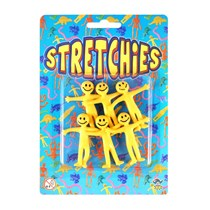 Yellow stretchy man party favour 6 Pack
