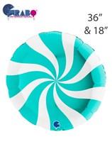 "Swirly Tiffany 36"" & 18"" Round Foil Balloon"
