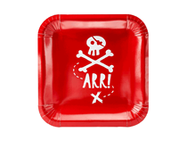 Pirate Party Red 20cm Square Paper Plates 6pk