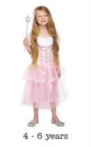 Children's Pink Princess Fancy Dress Costume 4 - 6 yrs (with wand)