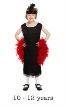 Children's Flapper Fancy Dress Costume 10 - 12 yrs (with feather boa)