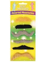 6 Assorted False Moustaches
