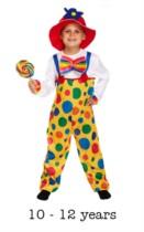 Children's Clown Fancy Dress Costume 10 - 12 yrs