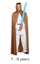 Child Jedi Style Brown Cape 7 - 9 yrs with light saber