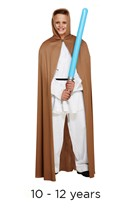 Child Jedi Style Brown Cape 10 - 12 yrs with light saber
