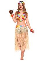 Adult Hawaiian Girl 6 Piece Dressing Up Set