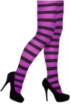 Black & Purple Stripy Tights