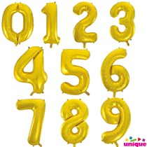 Unique Party Giant Foil 34 Inch Gold Number Balloons