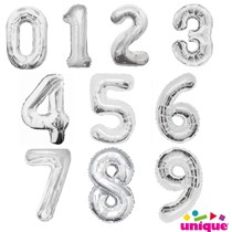 Unique Party Giant Foil 34 Inch Silver Number Balloons