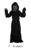 Children's Hallowen Reaper Costume with Mirrored Mask 7 - 9 years