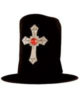 Adult Halloween Fancy Dress Vampire Hat with Cross