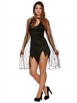 Adult Ladies Halloween Fancy Dress Hooded Spiderweb Cape