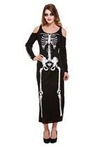 Women's Halloween Skeleton Costume Long Dress - One Size