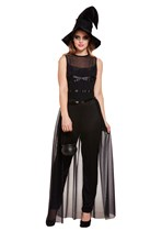Ladies Halloween Black Long Witch Costume With Hat - One Size