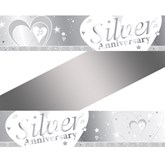 25th Silver Anniversary Wishes Foil Banner