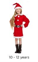 Child Miss Santa Christmas Fancy Dress Costume 10 - 12