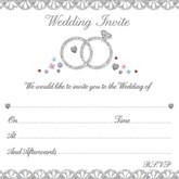 Wedding Rings Invitations & Envelopes 10pk