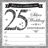 25th Silver Anniversary Invitations & Envelopes 10pk