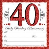 40th Ruby Anniversary Invitations & Envelopes 10pk