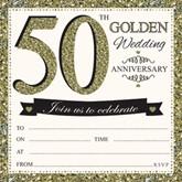 50th Golden Anniversary Invitations & Envelopes 10pk