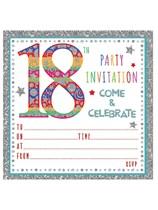 Multi Coloured Embossed 18th Birthday Invitations & Envelopes 10pk