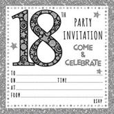 Black & Silver Embossed 18th Birthday Invitations & Envelopes 10pk