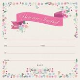 Pink Floral Invitations & Envelopes 10pk