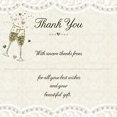 Lace & Champagne Wedding Thank You Cards & Envelopes 10pk