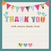 Bunting & Birds Thank You Cards & Envelopes 10pk