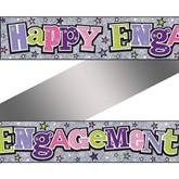 Holographic Happy Engagement Foil Banner