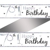 70th Birthday Holographic Foil Banner