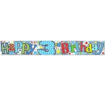 Happy 3rd Birthday Holographic Foil Banner