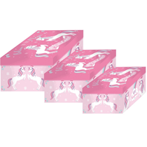 3pce Unicorn Christmas Chests With Clasp Lid - 2 Pack