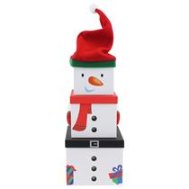 Christmas Snowman XL Plush Stacker Gift Boxes 3pce