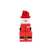 Christmas Santa Plush Stacker Gift Boxes 3pce