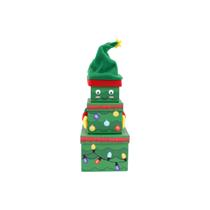 Christmas Tree Plush Stacker Gift Boxes 3pce