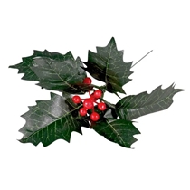 """Red Berry and Holly Leaves 8"""" Pick"""