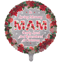 """Christmas Mam Remembrance 18"""" Round Foil Balloon"""