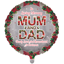 """Christmas Mum & Dad Remembrance 18"""" Round Foil Balloon"""