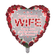 """Christmas Wife Remembrance 18"""" Heart Foil Balloon"""