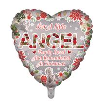 "Christmas Little Angel Remembrance 18"" Heart Foil Balloon"