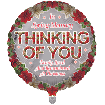"""Christmas Thinking Of You Remembrance 18"""" Round Foil Balloon"""