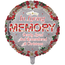 """Christmas In Loving Memory Remembrance 18"""" Round Foil Balloon"""