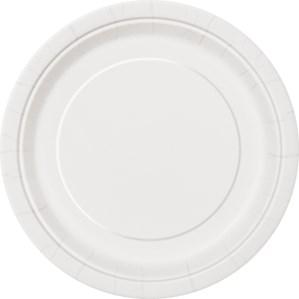 "Bright White 7"" Round Paper Plates 8pk"